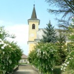 Templom tavaszi virágkoszorúban